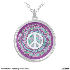 Psychedelic Peace Silver Plated Necklace