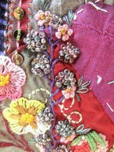Flores y frutos. Crazy Quilt. Detalle. Bordado a mano por Carolina Gana. Taller de Bordado Rococó. Santiago de Chile. by beatrice