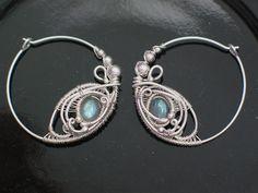 Labradorite Hoop Earrings Wire Wrapped Jewelry by PeacebirdStudio