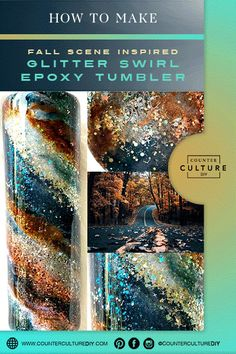 Learn how to make a beautiful fall scene inspired glitter swirl epoxy tumbler! We give you the supply list and step by step instructions for this autumn tumbler! Copper Paint, Silver Paint, Matching Paint Colors, Diy Tumblers, Paint Drying, Tumbler Designs, Swirl Pattern, Autumn Inspiration, Swirls