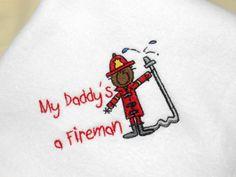 Baby Fleece Blanket Daddys a Fireman African by arizonathreads