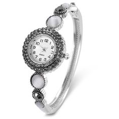 Rhinestoned Round Bracelet Watch (31 ILS) ❤ liked on Polyvore featuring jewelry, watches, rhinestone jewelry, bracelet watch, watch bracelet, rhinestone watches and round watches