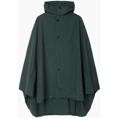 Postalco Rain Cape (€380) ❤ liked on Polyvore featuring outerwear, dark green, hooded cape coat, postalco, green cape coat, green hooded cape and green cape