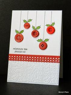 Skapeglede: Julekort med røde knapper. DIY