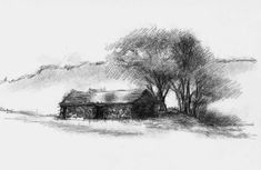 Artist Sean Briggs producing a sketch a day Cumbrian barn #art #barn #drawing #http://etsy.me/1rARc0J #sketch