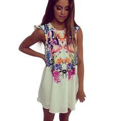 Hot ! Women Loose Floral Casual Club Mini Dress Ladies Chiffon Summer Beach Sundress