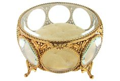 Early 20th Century Gold Vitrine Jewel Box w/ Beveled Glass by Ruby + George on @One Kings Lane #vintageandmarketfinds #jewelbox #jewelrybox #vitrine #gold #vintage #vintagedecor #homedecor #decor