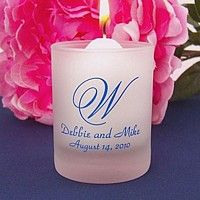 Frosted votive candle holders printed with Medium Blue ink, 70-S single monogram, and two lines of print in Park Avenue lettering style