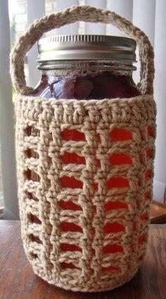 Crocheted Quart Mason Jar Cozy with Handle by Bizyhands on Etsy Mason Jar Cozy, Quart Size Mason Jars, Crochet Kitchen, Crochet Home, Kombucha Jar, Wine Glass Holder, Crochet Slippers, Mason Jar Crafts, Crochet Projects