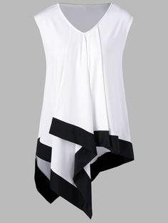Plus Size Asymmetrical Longline Sleeveless T-Shirt - WHITE/BLACK 2XL
