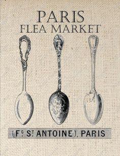 vintage spoons illustration transfer