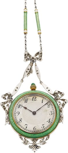 Edwardian Lady's C.H. Meylan Diamond, Enamel, Platinum, Gold Pendant-Watch Case…
