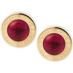 Michael Kors Gold-Tone Red Stone Stud Earrings ($75) ❤ liked on Polyvore featuring jewelry, earrings, gold, stone jewelry, gold tone earrings, michael kors, polish jewelry and red stud earrings