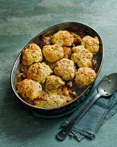 A light scone-like topping crowns a creamy chicken, mushroom and riesling filling in this crowd pleasing recipe.