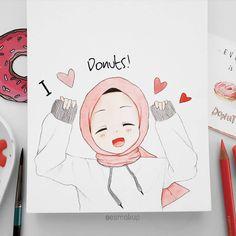 Hijab Drawing, Islamic Cartoon, Hijab Cartoon, Islamic Girl, Artsy Photos, Kawaii, Muslim Images, Character Drawing, Anime Art Girl