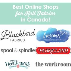 Last week I wrote a post mentioning my favourite online shops for buying knits in Canada… and you told me about even more in the comments! I've added 9 more shops to the post now, s… Sewing Blogs, Sewing Hacks, Sewing Tutorials, Sewing Projects, Sewing Tips, Sewing Designs, Design Patterns, Sewing Ideas, Diy Projects