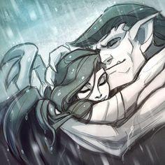 Goliath & Elisa cuddling each other in the rain.