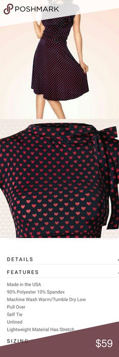 Bridget Bombshell Red & Navy Heart Pinup Dress Fits an 8/10 and is soooo flattering! Perfect condition! Tag size L, fits like Women's Medium. ModCloth Dresses Midi