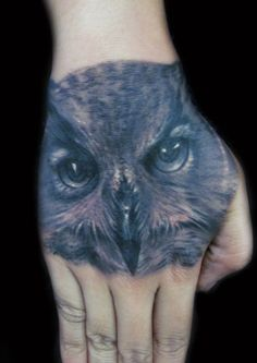 Owl Tattoo on hand - 45  Eye-Catching Tattoos on Hand  <3 <3