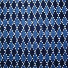 Harlequin. Interlaced diamonds in dark and light indigo, edged in white. This fabric makes lovely cushions!