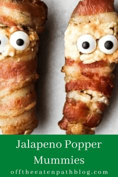 Roasted Jalapeno, Jalapeno Recipes, Bacon Wrapped Jalapeno Poppers, Stuffed Jalapenos With Bacon, Halloween Food For Party, Halloween Appetizers, Halloween Treats, Fancy Appetizers, Hanukkah Food