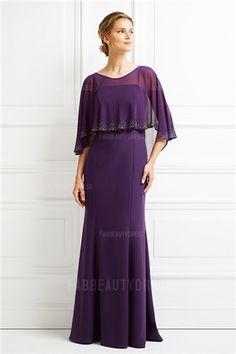 Trumpet/Mermaid Spaghetti Straps Jewel Sweep/Brush Train Chiffon Mother of the Bride Dress