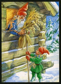 preparing for the Christmas feast for the wild animals Fantasy Illustration, Christmas Illustration, Christmas Elf, Christmas Photos, Christmas Clipart, Gnome Pictures, Baumgarten, Humanoid Creatures, Elves And Fairies