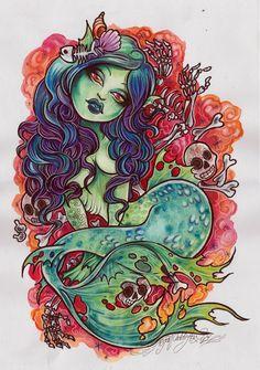 Lagoon Babe by Tegan Coddington Sexy Mermaid Tattoo Canvas Art Print
