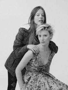 Mia Goth and Mia Wasikowska Fashion Editor, Fashion Shoot, Fashion Stylist, Photography Women, Portrait Photography, Black And White Stars, Mia Wasikowska, Vogue Uk, British Actors