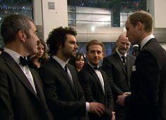 AIDAN TURNER:  The Hobbit London premiere.  The Duke of Cambridge greets James Nesbitt, Aidan Turner, Dean O'Gorman, & Graham McTavish.