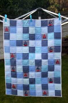 Handmade Patchwork and Applique baby/toddler cot quilt - Nautical sail boat themed