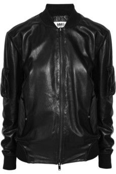 MM6 Maison Martin Margiela's forté is cool but classic staples. This black bomber jacket is cut from supple leather for a clean, uncomplicated silhouette. Lined in soft gray jersey for added comfort, this zip-front design will anchor your off-duty wardrobe all year round.