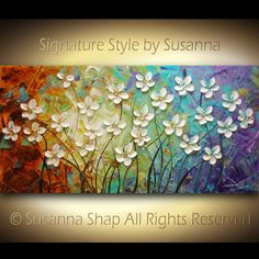 ORIGINAL Large Impasto Landscape Texured Abstract White Flowers Painting Modern Palette Knife Contemporary Fine Art by Susanna 48x24