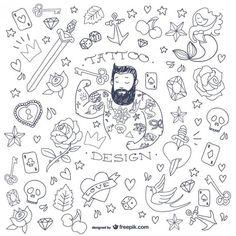 Símbolos homem tatuagem do doodle Vetor grátis