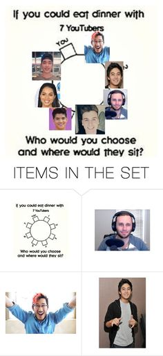 """""""If I was to have dinner with 7 of my favorite youtuber they would be ,Markiplier, Ryanhiga,Sundee,,Tal the reactor, Alex wassabi, superwoman, Terry Song"""" by phill-steven on Polyvore featuring art"""