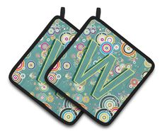 Letter W Circle Circle Teal Initial Alphabet Pair of Pot Holders CJ2015-WPTHD