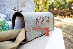 Real Wedding: Natalie and Nathaniel's At-Home DIY Wedding - an old farm mailbox for wedding cards