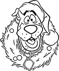 scooby doo happy christmas hat coloring for kids christmas coloring pages kidsdrawing free