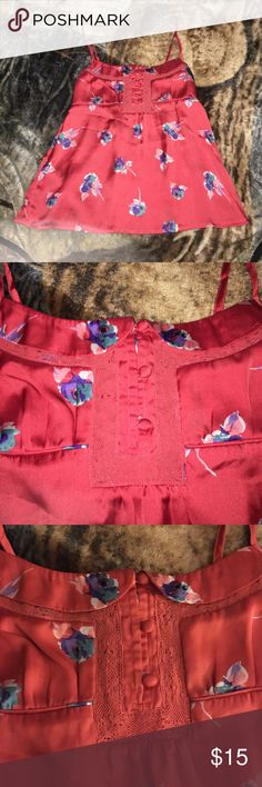 Red floral American Eagle silky tank top Like new, red silky tank top with beautiful flowers on it American Eagle Outfitters Tops Tank Tops