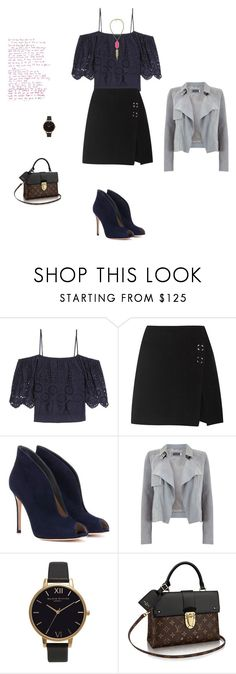 """""""Untitled #11284"""" by explorer-14576312872 ❤ liked on Polyvore featuring Ganni, Acne Studios, Gianvito Rossi, Mint Velvet, Olivia Burton and Kendra Scott"""