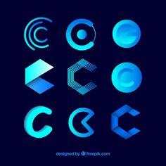 Futuristic logo letter c template collection Free Vector Lettering, Typography Logo, Logo Branding, Branding Design, Logo Generator, Carta Logo, Logo Psd, C Logo, Abstract Logo