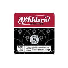 D'Addario Pl010-5 Plain Steel Electric or Acoustic Guitar Strings