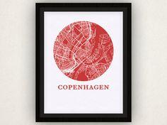Copenhagen Karte Grafik - Karte-City-Poster