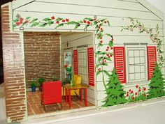 This ranch style dollhouse was made by Rich Toy Companycirca 1950.   It has four rooms....kitchen, open planliving/dining room,   and ...