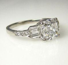 GIA Art Deco 2.53ct Antique Vintage Asscher Cut Diamond Engagement Ring