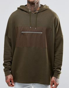 Image 3 of ASOS Oversized Longline Hoodie With Woven Pocket In Khaki