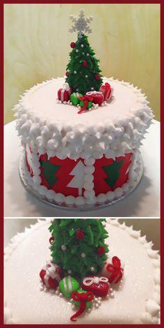 Christmas Fruit cake with fondant decorations