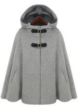 Grey Hoodie Two PU Buckle Woolen Poncho Coat $78.8