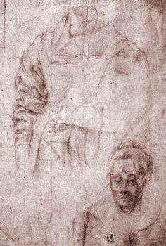Studies of Maria Salviati - Jacopo Pontormo. c.1543. Red chalk drawing. 265 x 188 mm. Galleria degli Uffizi, Florence, Italy.