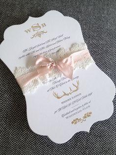 Beautiful wedding invitation with lace